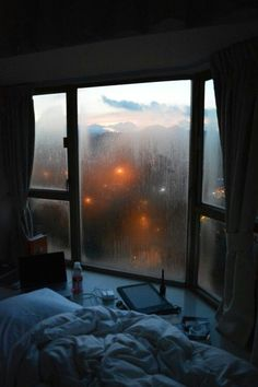 cozy bed window condensation cold weather wet comfy indoors light diffused peaceful