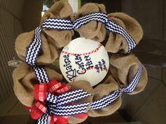 Baseball baby shower. Baseball nursery. Baseball hospital door wreath.