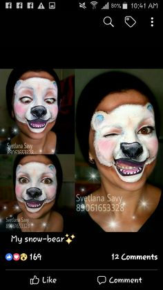 Polar bear face painting by No related posts. Reindeer Face Paint, Bear Face Paint, Cool Face Paint, Animal Face Paintings, Animal Faces, Bear Makeup, Lion Makeup, Halloween Make Up, Halloween Face Makeup