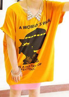 Yellow Round Neck Batwing Sleeve Oversized T-shirts