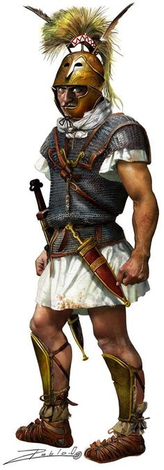 Roman officer BC 3rd century. Notice how this Legionary differs very little from later Roman Soldiers, from the Gladius Hispaniensus(Spanish Sword, which would have just been put into widespread service) on his right side, Pugio dagger (also adopted from the Iberians)on his left, and his Lorica Hamata (chainmail) body armor. The only difference is his helmet of the Apulo Corinthian type which fell out of use shortly after this time period. The Montefortino type helmet becoming prevalent.