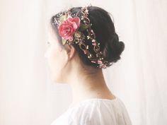 Flower Crown, Bridal Headpiece, Flower Circlet, Floral Halo, Wildflower Wreath, Pink Double Crown, Hair Accessories, Rustic, Romantic, Fairy...