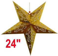 """Star Paper Lantern 24"""" Gold Color - Just Artifacts Brand by Just Artifacts. $4.48. Great for party and home decoration. Check Just Artifacts products for more available colors/sizes."""