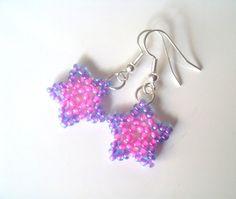 Handmade Beaded Star Earrings PInk & Purple Star by 29Moonbeams