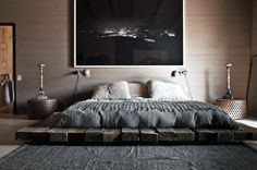 Masculine low wood bed