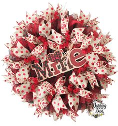 "Valentine's Day ""Be Mine"" Burlap Buffalo Check Deco Mesh Wreath"