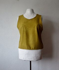 Organic silk blouse dark gold mustard yellow tank vest natural dyes eco friendly sustainable boho minimalist fashion top womens garment cami