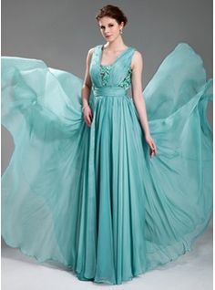 A-Line/Princess V-neck Floor-Length Chiffon Tulle Evening Dress With Ruffle Beading Appliques (017019725)