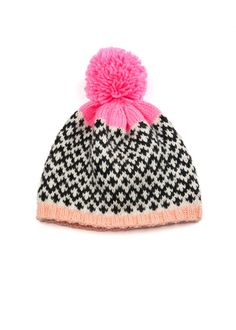 Patterned Pom Pom Beanie  Fair Isle Diamonds door WhiteLodgeKnitwear