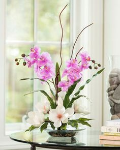 Magnolias & Orchids Silk Flower Arrangement for Home and Office Dceorating at Petals Artificial Floral Arrangements, Artificial Orchids, Silk Floral Arrangements, Silk Flower Centerpieces, Flower Decorations, Silk Orchids, Silk Flowers, Phalaenopsis Orchid, Spring Flowers