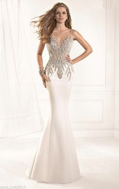 Gorgeous Pearl/Stone Mermaid Prom Dress Formal Gown Pageant Evening Dresses