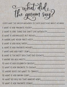 guess what the groom answered to these questions about his bride super funny unique bridal shower game
