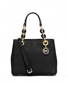 b60d324a71846a Cynthia Small Saffiano Satchel Bag, Black by MICHAEL Michael Kors at Neiman  Marcus. #