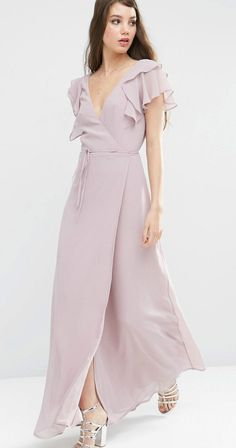Maxi dress for bridesmaids | Flutter sleeve wrap dress in Dusty Lilac. Lavender bridesmaid dresses.