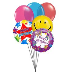 Birthday Party balloons Latex & 3 Mylar Balloons) Send this Colourfull Birth day Balloons on special day of birth