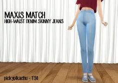 Maxis Match High-Waist Denim Skinny Jeans at Pickypikachu via Sims 4 Updates Sims 4 Mm Cc, Sims Four, Sims 4 Cas, My Sims, Maxis, Sims 4 Blog, Sims4 Clothes, Adolescents, Sims 4 Clothing