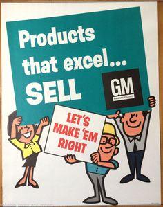 Original Vintage Poster GM General Motors Corp Business Motivational Excel Sell #Vintage