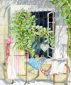 """Acuarela """"Ventana en Arles"""" – Forget Me Not"""