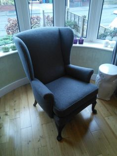 Parker Knoll chair reupholstered in mid grey marl woolcloth