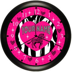 Zebra Personalized With Her Name Wall Clocks For Bedroom Or Bathroom Cool Diva Chic Decor Your Choice Of Colors Hot Pink / Teal / Lime Green / Purple Or Red.