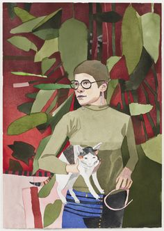 """Jonas Wood (American, born 1977), """"Robin with Phoebe,"""" 2008. Gouache and colored pencil on paper, 29 1/4 x 20 1/4"""" (74.3 x 51.4 cm). Fund for the Twenty-First Century. © 2012 Jonas Wood"""
