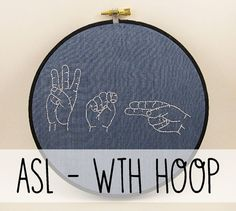 WTH Sign Language Embroidery Hoop Art. by ThePhantomMoon on Etsy