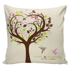 Wedding Pillow Tree Birds Personalized LOVE Anniversary Gift Winter Cotton and Burlap Choose your Name and Date Elliott Heath Designs Cotton Anniversary Gifts, Love Anniversary, Burlap Pillows, Throw Pillows, Cleaning Pillows, Wedding Pillows, Personalized Pillows, Bird Tree, Pillow Forms