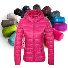 New 2016 autumn winter womens ultra light hwhite duck down hooded jacket coat parkas 14 Candy colors Plus size S to 4XL m215