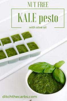 See how to make simple easy nut free kale pesto. Made with olive oil and no nasty seed oils. Read the magic trick and why you might want to add some butter to the mix? Primal Recipes, Ketogenic Recipes, Low Carb Recipes, Real Food Recipes, Cooking Recipes, Healthy Recipes, Banting Recipes, Sauce Recipes, Cooking Tips
