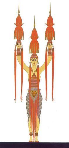 Lantern bearer, Treasures of Indochina - Erte