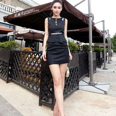 New Women Elegant Diamond Chain Decorate Slim Waist Sleeveless Hollow Out Short Dress Removable Long Skirt -5