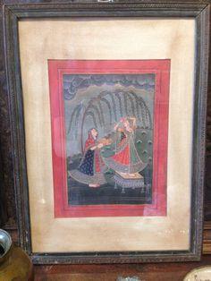 Women Under a Willow Tree- Antique Indian Devotional Art Print