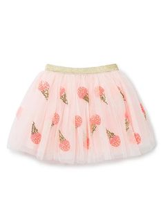 100% Polyester Tutu. Tulle tutu with elasticated lurex waistband. Outer layer sequinned in icecream motifs. Fully lined in 100% Cotton. Available in Shortcake.