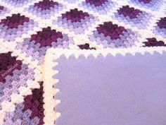 purple baby blanket - crochet and fleece - lavender lilac plum baby blanket - reversible - crochet baby blanket - handmade by RockinLola