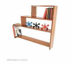 Mid Century Industrial Stepped Bookcase Shelves Retro Vintage   360 Modern Furniture