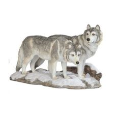 Amazon.com: Couple Of Wolves Wolf Together Wildlife Animal Collectible Poly Resin Figurine Statue - Width 10.5 inches - Height 6.25 inches: Home & Kitchen