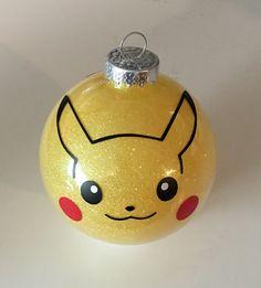 Pokemon Inspired Pikachu Glitter Ornament 3.25 Glass by MakeItAmy