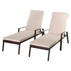 2Pcs Patio Rattan Lounge Chair Beige Cushion Set w/ 5 Adjustable Position Backrest