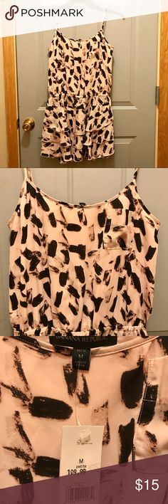 """NWT Banana Republic Spaghetti Strap Tunic New with tags. Adjustable spaghetti straps. Colors are pale pink and black design. Measures 25"""" from armpit. Size M Petite. Tops Tunics"""