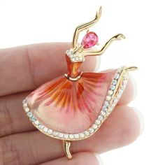 Art Deco Dancing Girl Drop Brooch Pin Zircon Austrian Crystal Pink Enamel 35f6b3314a59