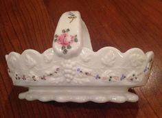 Beautiful Westmorelandsplit handled  hand painted milk white basket #Westmoreland
