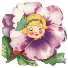 SWEET GIRL IN PURPLE FLOWER BLOSSOM / VINTAGE ANTHROPOMORPIC VALENTINE CARD