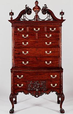 Colonial American Rococo High chest of drawers, ca. 1762–75  American  Mahogany, tulip poplar, yellow pine