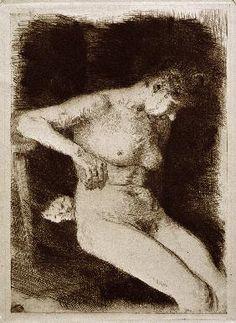 Kollwitz, Käthe : Sitzender weiblicher Akt