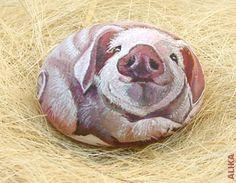 Hand painted rock.Happy Piglet by Alika-Rikki, via Flickr