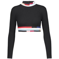 Christopher Kane - Cropped Ribbed Wool Turtleneck Sweater ($470) ❤ liked on Polyvore featuring tops, sweaters, black, cropped sweaters, white turtleneck, ribbed turtleneck sweaters, ribbed turtleneck and turtleneck crop tops