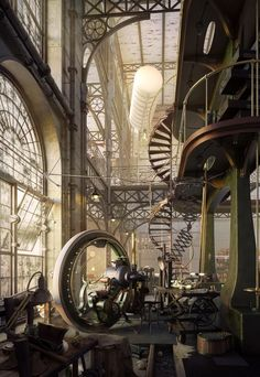 steampunktendencies: Whole Lotta Loft - Old Steampunk Engine House by Robert Filip Lol- is that Mr. Garrison's riding circle from South Park? Design Steampunk, Steampunk Kunst, Steampunk Fashion, Steampunk Interior, Steampunk House, Steampunk City, Steampunk Kitchen, Steampunk Ship, Steampunk Artwork