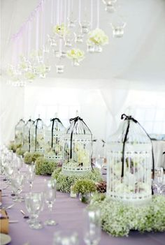 hanging votives and birdcage centerpieces