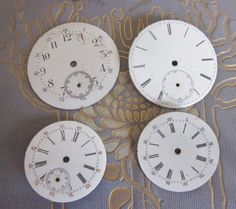 Four Vintage Porcelain Pocket Watch Faces.   Steampunk Jewelry Findings Altered…