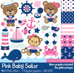 Pink Baby Sailor - Clip art and digital paper set - Nautical clipart Nautical Clipart, Photoshop Elements, Project Yourself, Digital Stamps, Print And Cut, Art Images, Sailor, Clip Art, Etsy